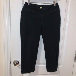 St. John Black Cropped Capri Pants Trousers